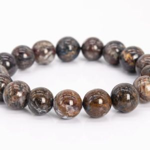 """Shop Pietersite Bracelets! 12MM Blue Brown Pietersite Beads Bracelet Colombia Grade A Genuine Natural Round Gemstone 7.5"""" (111984h-3463) 