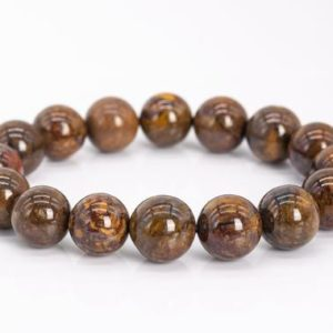 """Shop Pietersite Bracelets! 13MM Yellow Brown Pietersite Beads Bracelet Colombia Grade AA Genuine Natural Round Gemstone 7.5"""" (111989h-3464) 