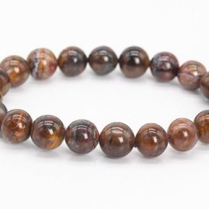 """Shop Pietersite Bracelets! 9MM Red Brown Pietersite Beads Bracelet Colombia Grade AA Genuine Natural Round Gemstone 7"""" (111158h-3326) 