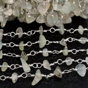Shop Prehnite Chip & Nugget Beads! Prehnite Chips Beaded Silver Chain 36 Inches / 1 Yd Silver Tone Brass Chains For Jewelry Making Bulk Lot Options (61034-s16) | Natural genuine chip Prehnite beads for beading and jewelry making.  #jewelry #beads #beadedjewelry #diyjewelry #jewelrymaking #beadstore #beading #affiliate #ad
