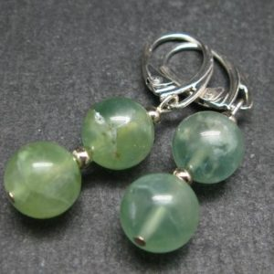 Shop Prehnite Earrings! Simple Yet Vivaciously Lovely Prehnite 10mm Beads Dangle 925 Silver Leverback Earrings From Australia | Natural genuine Prehnite earrings. Buy crystal jewelry, handmade handcrafted artisan jewelry for women.  Unique handmade gift ideas. #jewelry #beadedearrings #beadedjewelry #gift #shopping #handmadejewelry #fashion #style #product #earrings #affiliate #ad