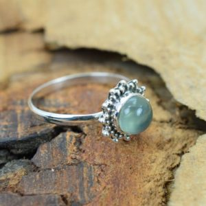 Shop Prehnite Rings! Green Prehnite 925 Sterling Silver Gemstone Ring ~ Round Shape Flower Ring | Natural genuine Prehnite rings, simple unique handcrafted gemstone rings. #rings #jewelry #shopping #gift #handmade #fashion #style #affiliate #ad