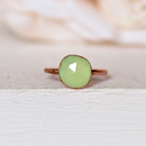 Shop Prehnite Rings! Prehnite Ring, Green Gemstone Ring, Copper Ring, Raw Crystal Ring, Gift for Her, Boho Ring, Prehnite Jewelry, Rose Cut Ring, Statement Ring | Natural genuine Prehnite rings, simple unique handcrafted gemstone rings. #rings #jewelry #shopping #gift #handmade #fashion #style #affiliate #ad