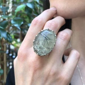 Shop Prehnite Rings! Prehnite Ring, Natural Prehnite, May Birthstone, Celtic Silver Ring, Statement Ring, Chunky Ring, Tall Ring, Big Green Ring, 925 Silver Ring | Natural genuine Prehnite rings, simple unique handcrafted gemstone rings. #rings #jewelry #shopping #gift #handmade #fashion #style #affiliate #ad