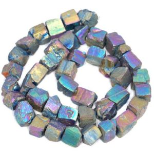 Shop Pyrite Chip & Nugget Beads! 10MM Titanium Rainbow Pyrite Gemstone Rugged Nugget Cube Loose Beads 7.5 inch Half Strand (80004147 H-B112) | Natural genuine chip Pyrite beads for beading and jewelry making.  #jewelry #beads #beadedjewelry #diyjewelry #jewelrymaking #beadstore #beading #affiliate #ad
