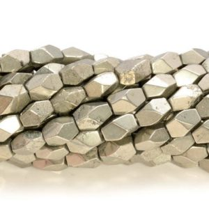 Shop Pyrite Chip & Nugget Beads! 5-7mm Pyrite Gemstone Grade AAA Faceted Hexagon Nugget Cube Loose Beads 7.5 Inch Half Strand (80007343 H-406) | Natural genuine chip Pyrite beads for beading and jewelry making.  #jewelry #beads #beadedjewelry #diyjewelry #jewelrymaking #beadstore #beading #affiliate #ad