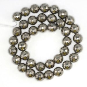 Shop Pyrite Faceted Beads! 6mm Palazzo Iron Pyrite Gemstone Grade AA Faceted Round 6mm Loose Beads 7.5 inch Half Strand (90181691-401)   Natural genuine faceted Pyrite beads for beading and jewelry making.  #jewelry #beads #beadedjewelry #diyjewelry #jewelrymaking #beadstore #beading #affiliate #ad