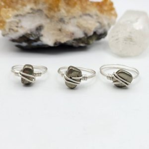 Pyrite Ring, Silver Wire Wrapped Ring | Natural genuine Gemstone rings, simple unique handcrafted gemstone rings. #rings #jewelry #shopping #gift #handmade #fashion #style #affiliate #ad