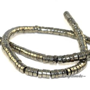 Shop Pyrite Rondelle Beads! 6X3MM Iron Pyrite Gemstones, Heishi Rondelle Slice, 6X3MM Loose Beads 15.5 inch Full Strand LOT 1,2,6,12 and 20 (90107057-409)   Natural genuine rondelle Pyrite beads for beading and jewelry making.  #jewelry #beads #beadedjewelry #diyjewelry #jewelrymaking #beadstore #beading #affiliate #ad