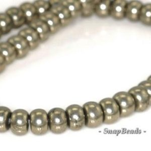 Shop Pyrite Rondelle Beads! 6x4mm Palazzo Iron Pyrite Gemstone Rondelle 6x4mm Loose Beads 7.5 inch Half Strand (90144805-418)   Natural genuine rondelle Pyrite beads for beading and jewelry making.  #jewelry #beads #beadedjewelry #diyjewelry #jewelrymaking #beadstore #beading #affiliate #ad