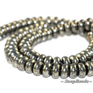 Shop Pyrite Rondelle Beads! FREE USA Ship 8X5MM Rondelle Iron Pyrite Gemstones Rondelle 8X5MM Loose Beads 16 inch Full Strand LOT 1,2,6,12 and 20 (90107061-137)   Natural genuine rondelle Pyrite beads for beading and jewelry making.  #jewelry #beads #beadedjewelry #diyjewelry #jewelrymaking #beadstore #beading #affiliate #ad
