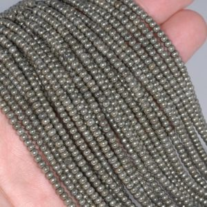 Shop Pyrite Rondelle Beads! FREE USA Ship 3X2MM Palazzo Pyrite Gemstones Rondelle 3X2MM Loose Beads 16 inch Full Strand LOT 1,2,6,12 and 20 (90113266-418)   Natural genuine rondelle Pyrite beads for beading and jewelry making.  #jewelry #beads #beadedjewelry #diyjewelry #jewelrymaking #beadstore #beading #affiliate #ad