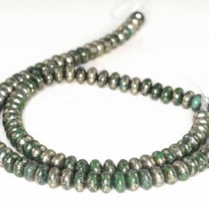 Shop Pyrite Rondelle Beads! Iron Pyrite With Intrusion Gemstone Green & Silver Rondelle 6x4mm Loose Beads 7 inch Half Strand (90181735-138)   Natural genuine rondelle Pyrite beads for beading and jewelry making.  #jewelry #beads #beadedjewelry #diyjewelry #jewelrymaking #beadstore #beading #affiliate #ad
