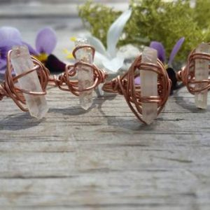 Raw quartz crystal ring, clear quartz crystal point ring, made to order, natural quartz crystal, rough point, silver or copper quartz ring | Natural genuine Gemstone rings, simple unique handcrafted gemstone rings. #rings #jewelry #shopping #gift #handmade #fashion #style #affiliate #ad