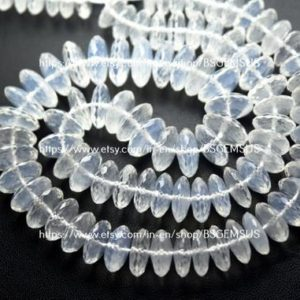 Shop Quartz Crystal Rondelle Beads! 8 Inches Strand,Natural Ice Quartz German Cutting Rondelles Size 10-11mm   Natural genuine rondelle Quartz beads for beading and jewelry making.  #jewelry #beads #beadedjewelry #diyjewelry #jewelrymaking #beadstore #beading #affiliate #ad