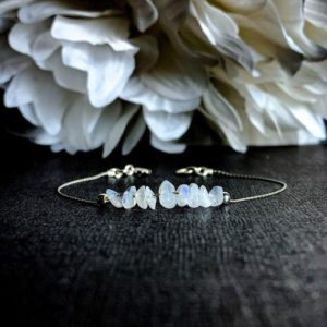 Shop Rainbow Moonstone Jewelry! Rainbow Moonstone Bracelet Sterling Silver Anklet Crystal Bracelet | Natural genuine Rainbow Moonstone jewelry. Buy crystal jewelry, handmade handcrafted artisan jewelry for women.  Unique handmade gift ideas. #jewelry #beadedjewelry #beadedjewelry #gift #shopping #handmadejewelry #fashion #style #product #jewelry #affiliate #ad