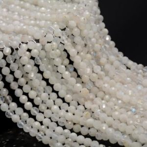 Shop Rainbow Moonstone Faceted Beads! 5MM Rainbow Moonstone Gemstone Grade AAA Micro Faceted Round Beads 15.5 inch Full Strand BULK LOT 1,2,6,12 and 50(80006533-A205) | Natural genuine faceted Rainbow Moonstone beads for beading and jewelry making.  #jewelry #beads #beadedjewelry #diyjewelry #jewelrymaking #beadstore #beading #affiliate #ad