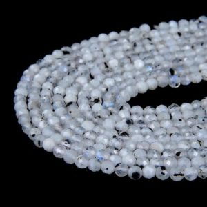 Shop Rainbow Moonstone Faceted Beads! Rainbow Moonstone Gemstone Micro Faceted Round 2MM 3MM 4MM Loose Beads (P10) | Natural genuine faceted Rainbow Moonstone beads for beading and jewelry making.  #jewelry #beads #beadedjewelry #diyjewelry #jewelrymaking #beadstore #beading #affiliate #ad