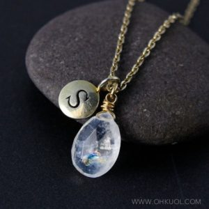 Shop Rainbow Moonstone Necklaces! Gold Rainbow Moonstone & Custom Hand Stamped Initial Charm Necklace, Elegant Moonstone, June Birthday | Natural genuine Rainbow Moonstone necklaces. Buy crystal jewelry, handmade handcrafted artisan jewelry for women.  Unique handmade gift ideas. #jewelry #beadednecklaces #beadedjewelry #gift #shopping #handmadejewelry #fashion #style #product #necklaces #affiliate #ad