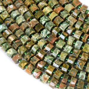 Shop Rainforest Jasper Beads! 8×6-8x4mm Rhyolite Gemstone Faceted Cylinder Wheel Tube Loose Beads (s5) | Natural genuine faceted Rainforest Jasper beads for beading and jewelry making.  #jewelry #beads #beadedjewelry #diyjewelry #jewelrymaking #beadstore #beading #affiliate #ad
