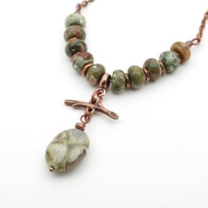Shop Rainforest Jasper Necklaces! Green rhyolite stone and twig necklace, antiqued copper chain, Boho stones, 20 3/4 inches long   Natural genuine Rainforest Jasper necklaces. Buy crystal jewelry, handmade handcrafted artisan jewelry for women.  Unique handmade gift ideas. #jewelry #beadednecklaces #beadedjewelry #gift #shopping #handmadejewelry #fashion #style #product #necklaces #affiliate #ad