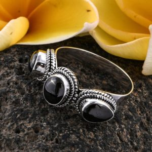 Shop Shungite Rings! Rare Masculine 3 Stone Shungite Ring Size 11 Powerful Clearing 2.5 TCW | Natural genuine Shungite rings, simple unique handcrafted gemstone rings. #rings #jewelry #shopping #gift #handmade #fashion #style #affiliate #ad