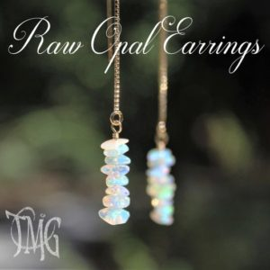 Shop Opal Earrings! Raw Opal Threader Earrings, October Birthstone,  Genuine Gemstone Crystal Threader Earrings, Dainty Earrings, Gold Filled, Sterling Silver | Natural genuine Opal earrings. Buy crystal jewelry, handmade handcrafted artisan jewelry for women.  Unique handmade gift ideas. #jewelry #beadedearrings #beadedjewelry #gift #shopping #handmadejewelry #fashion #style #product #earrings #affiliate #ad