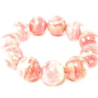 "Gem Rhodochrosite Round Beads Bracelet From Argentina – 8"" – 20mm Round Beads 