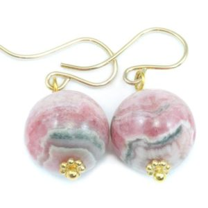 Shop Rhodochrosite Earrings! Rhodochrosite Earrings Natural Pink Smooth Round Dangle Drops Sterling Silver or 14k solid Gold or Filled Real Stone Simple Earthy Soft Pink | Natural genuine Rhodochrosite earrings. Buy crystal jewelry, handmade handcrafted artisan jewelry for women.  Unique handmade gift ideas. #jewelry #beadedearrings #beadedjewelry #gift #shopping #handmadejewelry #fashion #style #product #earrings #affiliate #ad