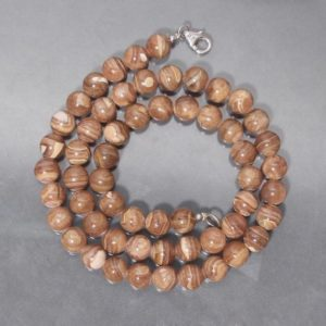 Shop Rhodochrosite Necklaces! Natural Brown Rhodochrosite Beaded Necklace, 8mm AAA++ Rhodochrosite Gemstone Smooth Round Beads 18 Inch Necklace, Women Stone Necklace | Natural genuine Rhodochrosite necklaces. Buy crystal jewelry, handmade handcrafted artisan jewelry for women.  Unique handmade gift ideas. #jewelry #beadednecklaces #beadedjewelry #gift #shopping #handmadejewelry #fashion #style #product #necklaces #affiliate #ad