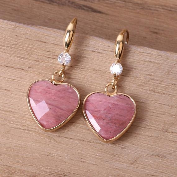 Love Protection Drop Earrings-rhodonite Stone Earrings-anxiety Stress Relief Spiritual Protection Healing Meditation Earrings Gift