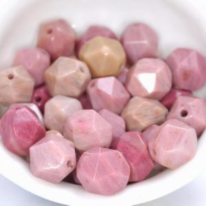 """8MM Rhodonite Beads Pink Star Cut Faceted Grade AAA Genuine Natural Gemstone Loose Beads 14.5"""" LOT 1,3,5,10 and 50 (80005217-M21) 