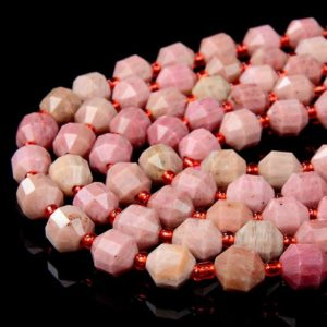 Shop Rhodonite Faceted Beads! 8MM Natural Rhodonite Gemstone Grade AAA Faceted Prism Double Point Cut Loose Beads (D31) | Natural genuine faceted Rhodonite beads for beading and jewelry making.  #jewelry #beads #beadedjewelry #diyjewelry #jewelrymaking #beadstore #beading #affiliate #ad