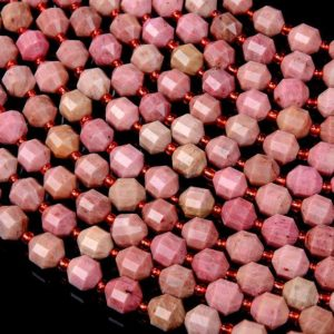 Shop Rhodonite Faceted Beads! 8MM Natural Rhodonite Gemstone Grade AAA Faceted Prism Double Point Cut Loose Beads BULK LOT 1,2,6,12 and 50 (D31) | Natural genuine faceted Rhodonite beads for beading and jewelry making.  #jewelry #beads #beadedjewelry #diyjewelry #jewelrymaking #beadstore #beading #affiliate #ad