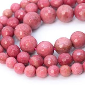 Rose Pink Rhodonite Beads Grade AAA Genuine Natural Gemstone Micro Faceted Round Loose Beads 6MM 8MM 10MM Bulk Lot Options | Natural genuine faceted Rhodonite beads for beading and jewelry making.  #jewelry #beads #beadedjewelry #diyjewelry #jewelrymaking #beadstore #beading #affiliate #ad