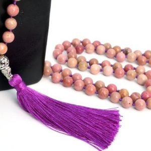 """Shop Rhodonite Necklaces! 8MM Haitian Flower Rhodonite Mala Beads 108 Pcs Grade AAA Necklace 41"""" Natural Round Gemstone with Tassel BULK LOT 1,3,5,10,50 (106813-084) 