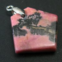 """Landscape Rhodonite Pendant With Black Dendritic Inclusions Of Manganese Oxide From Russia – 1.4"""" 