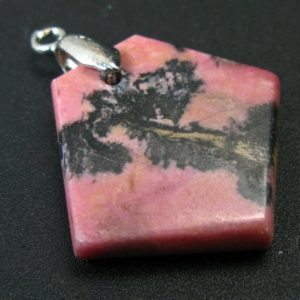 """Shop Rhodonite Pendants! Landscape Rhodonite Pendant with Black Dendritic Inclusions of Manganese Oxide From Russia – 1.4"""" 