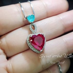 Shop Ruby Necklaces! Ruby Necklace Sterling Silver – Double Heart Necklace – White Gold coated July Birthstone | Natural genuine Ruby necklaces. Buy crystal jewelry, handmade handcrafted artisan jewelry for women.  Unique handmade gift ideas. #jewelry #beadednecklaces #beadedjewelry #gift #shopping #handmadejewelry #fashion #style #product #necklaces #affiliate #ad