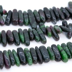 """Shop Ruby Zoisite Chip & Nugget Beads! 12-24×3-5mm Dark Green Ruby Zoisite Beads Stick Pebble Chip Genuine Natural Grade Aa Gemstone Loose Bead 15.5"""" / 7.5"""" Bulk Lot Option (112811) 