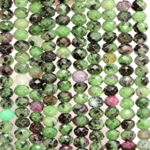 Shop Ruby Zoisite Faceted Beads! 6x4MM  Ruby Zoisite Gemstone Grade A Micro Faceted Rondelle Loose Beads 15.5 inch Full Strand (80009950-A203) | Natural genuine faceted Ruby Zoisite beads for beading and jewelry making.  #jewelry #beads #beadedjewelry #diyjewelry #jewelrymaking #beadstore #beading #affiliate #ad