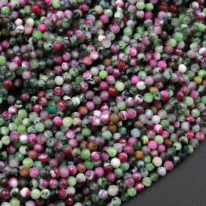 """Shop Ruby Zoisite Faceted Beads! Micro Faceted Natural Ruby Zoisite 2mm 3mm 4mm Round Beads Laser Diamond Cut Red Ruby Green Zoisite Gemstone 15.5"""" Strand 