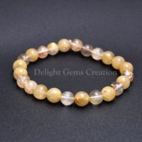 Natural Golden Rutile Stretch Bracelet, Rutilated Quartz Bracelet, Gemstone Beaded Bracelet, Meditation Bracelet, Gift, Yoga Bracelet | Natural genuine Gemstone jewelry. Buy crystal jewelry, handmade handcrafted artisan jewelry for women.  Unique handmade gift ideas. #jewelry #beadedjewelry #beadedjewelry #gift #shopping #handmadejewelry #fashion #style #product #jewelry #affiliate #ad