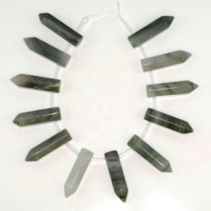 31x8mm Green Rutile Quartz Gemstone Point Healing Chakra Hexagonal Point Focal Bead Full Strand 12 Beads (90183768A-368) | Natural genuine other-shape Rutilated Quartz beads for beading and jewelry making.  #jewelry #beads #beadedjewelry #diyjewelry #jewelrymaking #beadstore #beading #affiliate #ad