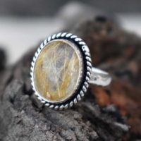 Natural Yellow Rutilated Ring , Solid 925 Sterling Silver Ring , African Golden Yellow Rutile Quartz Ring , rutile Ring , Christmas Gift Ring | Natural genuine Gemstone jewelry. Buy crystal jewelry, handmade handcrafted artisan jewelry for women.  Unique handmade gift ideas. #jewelry #beadedjewelry #beadedjewelry #gift #shopping #handmadejewelry #fashion #style #product #jewelry #affiliate #ad
