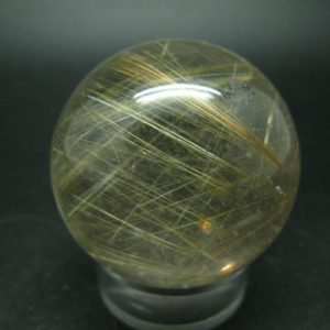"""Shop Rutilated Quartz Shapes! Rutilated Quartz Sphere w/ Rutile From Brazil – 1.7"""" 