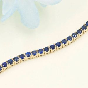 Shop Sapphire Bracelets! Natural Blue Sapphire Tennis Bracelet/14k Solid Gold Blue Sapphire Bracelet/Women's Tennis Bracelet/6.5 CT.Sapphire Bracelet for Women. | Natural genuine Sapphire bracelets. Buy crystal jewelry, handmade handcrafted artisan jewelry for women.  Unique handmade gift ideas. #jewelry #beadedbracelets #beadedjewelry #gift #shopping #handmadejewelry #fashion #style #product #bracelets #affiliate #ad