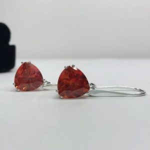 Shop Sapphire Earrings! Beautiful 7ctw Trillion Cut Orange Padparadscha Sapphire & Sterling Silver Earrings Fine Jewelry Gift Orange Sapphire Triangle Drop   Natural genuine Sapphire earrings. Buy crystal jewelry, handmade handcrafted artisan jewelry for women.  Unique handmade gift ideas. #jewelry #beadedearrings #beadedjewelry #gift #shopping #handmadejewelry #fashion #style #product #earrings #affiliate #ad