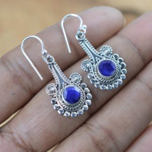 Shop Sapphire Earrings! Blue Sapphire 925 Sterling Silver Faceted Gemstone Hook Earring   Natural genuine Sapphire earrings. Buy crystal jewelry, handmade handcrafted artisan jewelry for women.  Unique handmade gift ideas. #jewelry #beadedearrings #beadedjewelry #gift #shopping #handmadejewelry #fashion #style #product #earrings #affiliate #ad