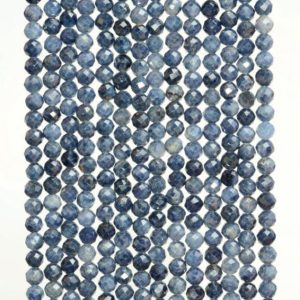 Shop Sapphire Faceted Beads! 2MM Dark Blue Genuine  Sapphire Gemstone Grade AAA Micro Faceted Round Loose Beads 15.5 inch Full Strand (80010169-A194) | Natural genuine faceted Sapphire beads for beading and jewelry making.  #jewelry #beads #beadedjewelry #diyjewelry #jewelrymaking #beadstore #beading #affiliate #ad